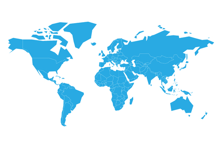 Blue vector map of World. Simplified illustration.