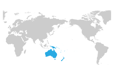 Australia and Oceania continent blue marked in grey silhouette of World map. Simple flat vector illustration.