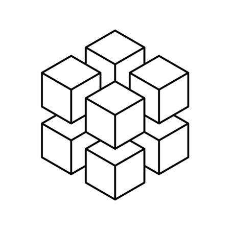 8 つの小さいアイソメ キューブのジオメトリ キューブ。抽象デザイン要素。科学または建設の概念。黒いアウトライン 3D ベクトル オブジェクト。