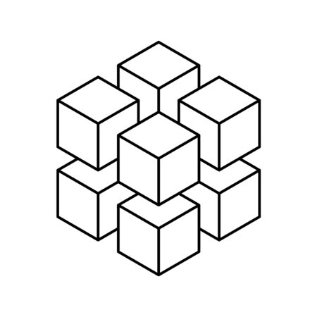 Geometric cube of 8 smaller isometric cubes. Abstract design element. Science or construction concept. Black outline 3D vector object.