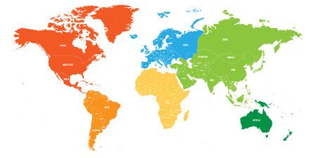 Carte du monde divisée en six continents. Chaque continent de couleur différente. Illustration vectorielle plane simple.