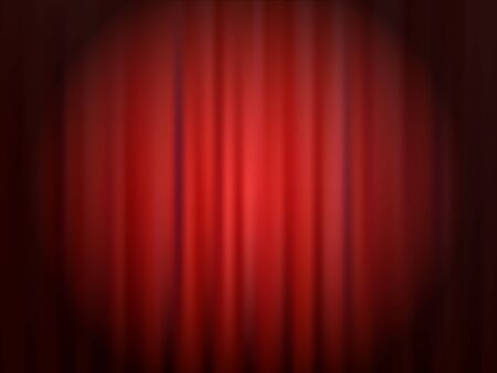 Red closed theater curtain with reflector spotlight circle. Abstract vector background.