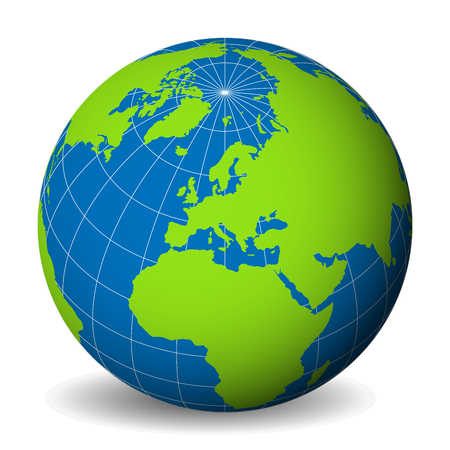 Earth globe with green world map and blue seas and oceans focused od Europe. With thin white meridians and parallels. 3D vector illustration.