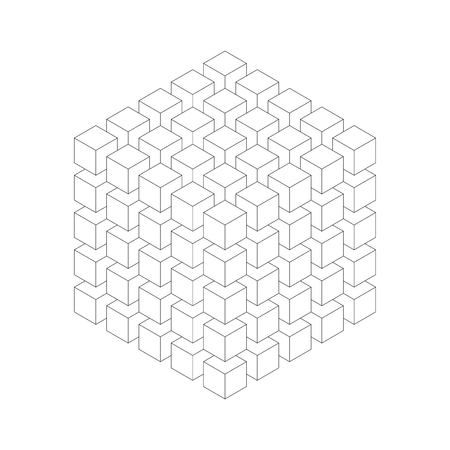 Geometric cube of smaller isometric cubes. Abstract design element. Science or construction concept. Black outline 3D vector object. 일러스트