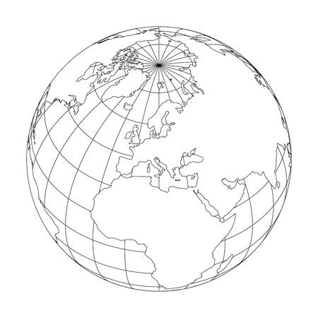 Delineare il globo terrestre con la mappa del mondo focalizzata sull'Europa. Illustrazione vettoriale Archivio Fotografico - 94063353
