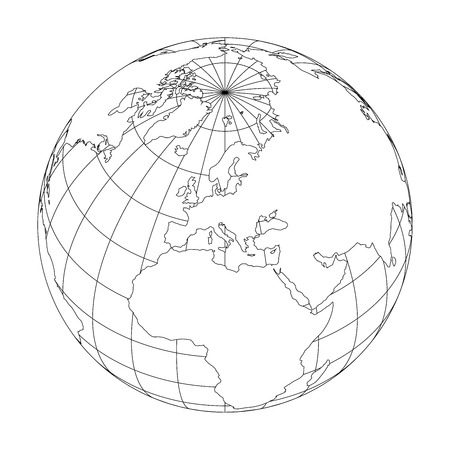 Outline Earth globe with map of World focused on Europe. Vector illustration. Stock Illustratie