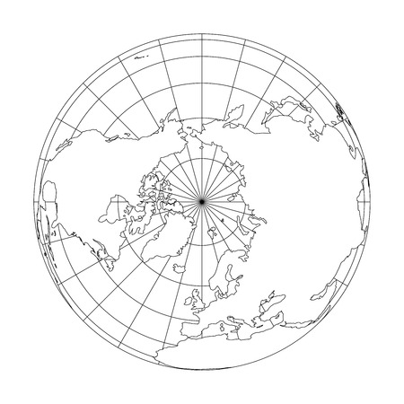 Outline Earth globe with map of World focused on Europe. Vector illustration. Vettoriali