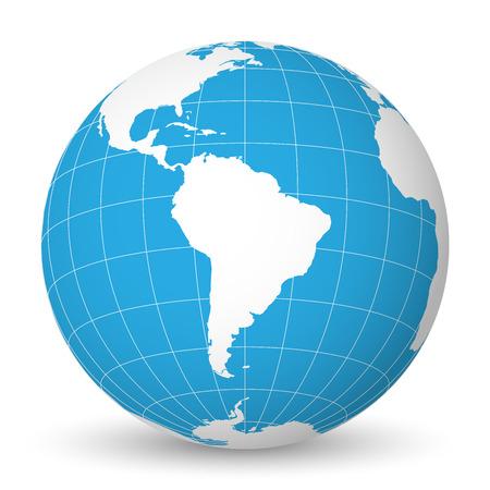Earth globe met groene wereldkaart en blauwe zeeën en oceanen gericht op Zuid-Amerika. Met dunne witte meridianen en parallellen. 3D-vector illustratie. Stock Illustratie