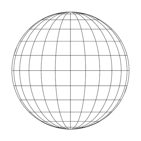 Front view of planet Earth globe grid of meridians and parallels, or latitude and longitude. 3D vector illustration.