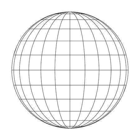 Vue de face du globe terrestre de la planète Terre des méridiens et des parallèles, ou de la latitude et de la longitude. Illustration vectorielle 3D