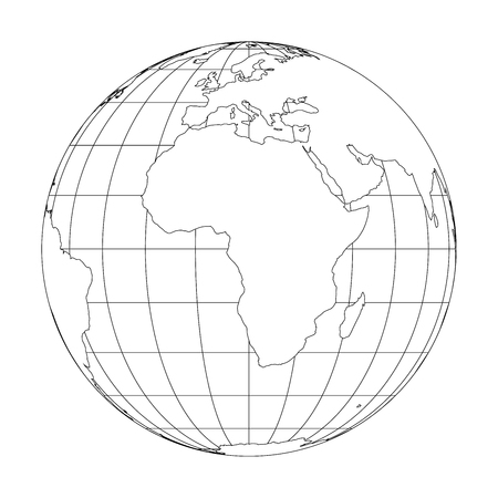 Outline Earth globe with map of World focused on Africa. Vector illustration.