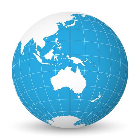 Earth globe met groene wereldkaart en blauwe zeeën en oceanen gericht op Australië. Met dunne witte meridianen en parallellen. 3D-vector illustratie. Stock Illustratie