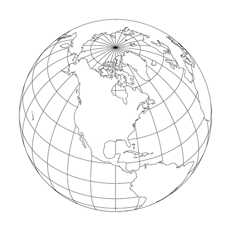Outline Earth globe with map of World focused on North America. Vector illustration.