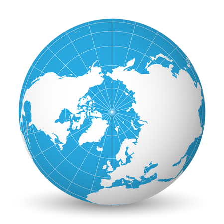 Earth globe with green world map and blue seas and oceans focused on Arctic Ocean and North Pole. With thin white meridians and parallels. 3D vector illustration. Stock Illustratie