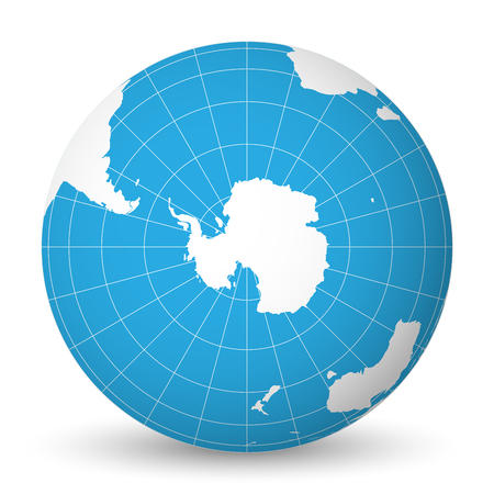 Earth globe with green world map and blue seas and oceans focused on Antarctica with South Pole. With thin white meridians and parallels. 3D vector illustration.