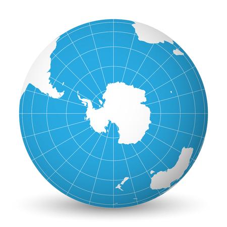 Globe terrestre avec la carte du monde vert et les mers et océans bleus centrés sur l?Antarctique avec pôle Sud. Avec des méridiens blancs minces et des parallèles. Illustration vectorielle 3D