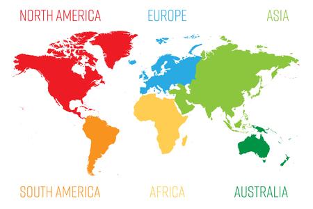 Wereldkaart verdeeld in zes continenten. Elk continent in verschillende kleuren. Eenvoudige platte vectorillustratie.