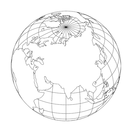 Outline Earth globe with map of World focused on Asia. Vector illustration.