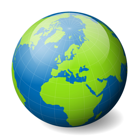 Earth globe with green world map and blue seas and oceans focused on Europe. With thin white meridians and parallels. 3D glossy sphere vector illustration.