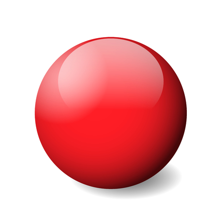 Red glossy sphere, ball or orb. 3D vector object with dropped shadow on white background. Illustration