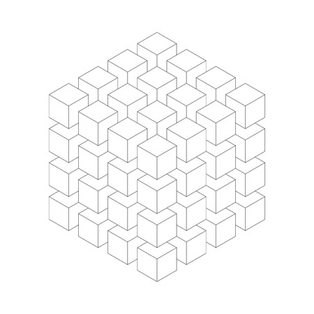 Geometric cube of smaller isometric cubes. Abstract design element. Science or construction concept. Black outline 3D vector object. 스톡 콘텐츠 - 94353464