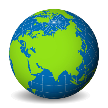 Earth globe with green world map and blue seas and oceans focused on Asia. With thin white meridians and parallels. Illustration
