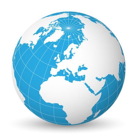 Earth globe with green world map and blue seas and oceans focused on Europe. With thin white meridians and parallels.