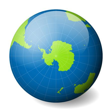 緑の世界地図と青い海と南極に焦点を当てた海と地球の地球。薄い白い子午線と平行。3D 光沢のある球ベクトルイラストレーション。