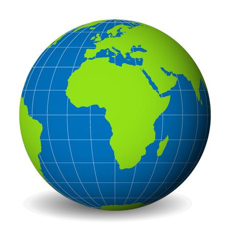 녹색 세계지도와 푸른 바다와 아프리카에 초점을 맞춘 바다 지구 글로브. 얇은 흰색 경선과 평행선. 3D 벡터 일러스트 레이 션. 일러스트