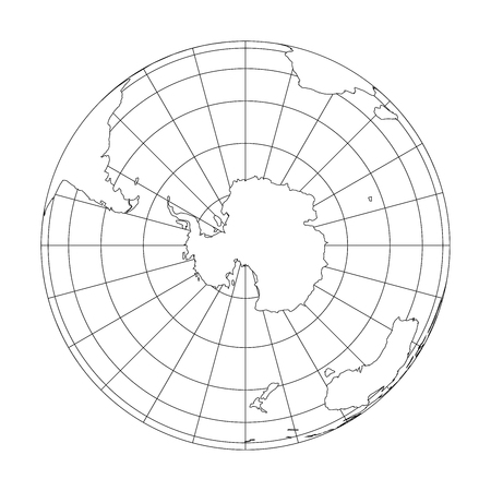 Outline Earth globe with map of World focused on Antarctica. Vector illustration. Иллюстрация