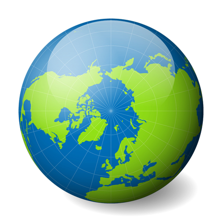 Earth globe with green world map and blue seas and oceans focused on Arctica with North Pole.