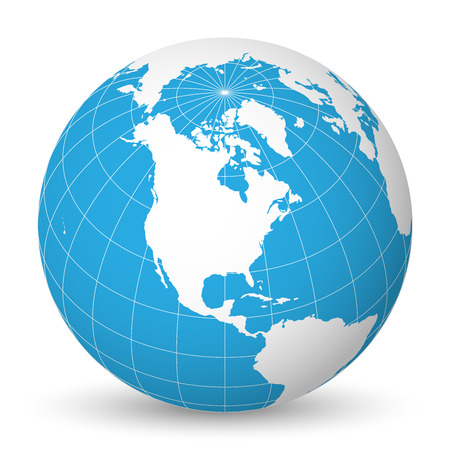 Earth globe with green world map and blue seas and oceans focused on North America.