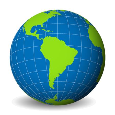 Globe terrestre avec la carte du monde vert et les mers et océans bleus concentrés sur l'Amérique du Sud. Avec des méridiens blancs minces et des parallèles. Illustration vectorielle 3D Vecteurs