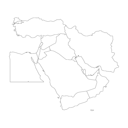 #94397740   Blank Map Of Middle East, Or Near East. Simple Flat Outline  Vector Ilustration.