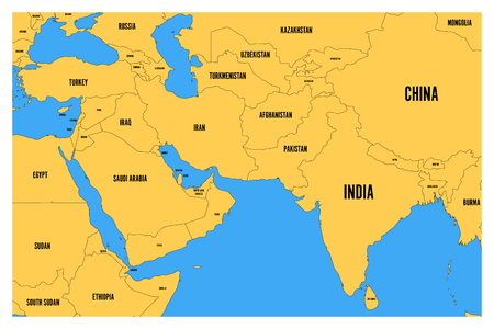 Political map of South Asia and Middle East. Simple flat vector map with yellow land and blue sea.