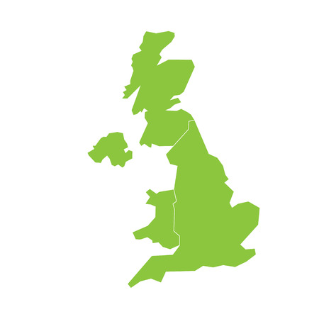 United Kingdom, UK, of Great Britain and Northern Ireland map. Divided to four countries - England, Wales, Scotland and NI. Simple flat green vector illustration.