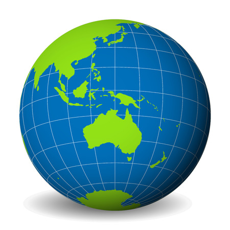 Earth globe with green world map and blue seas and oceans focused on Australia. With thin white meridians and parallels. 3D vector illustration. Illustration