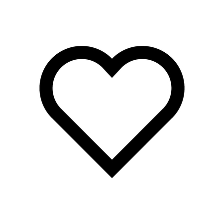 Heart icon. Symbol of love and Saint Valentines Day. Simple flat black thick outline vector shape.