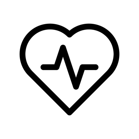 Heart icon with pulse line. Symbol of healthy lifestyle and love. Outline modern design element. Simple black flat vector sign with rounded corners.