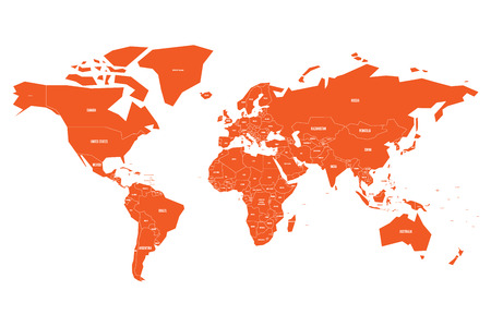 Politial map of World. Simple flat orange vector illustration..
