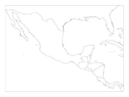 Blank Political Map Of Central America And Mexico Simple Thin - Blank-us-and-mexico-map