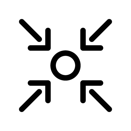 Here you are icon of point and four arrows. Outline modern design element. Simple black flat vector sign with rounded corners.