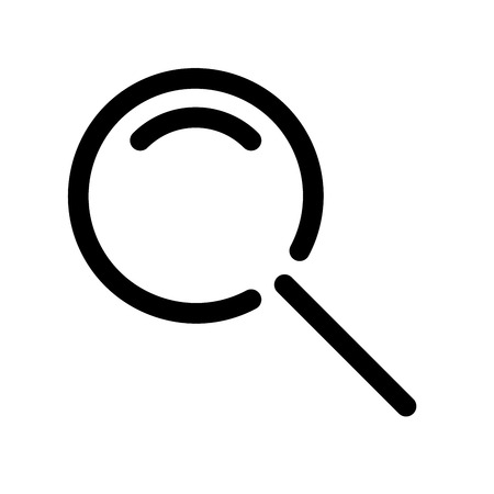 Magnifying glass symbol. Search icon. Outline modern design element. Simple black flat vector sign with rounded corners.