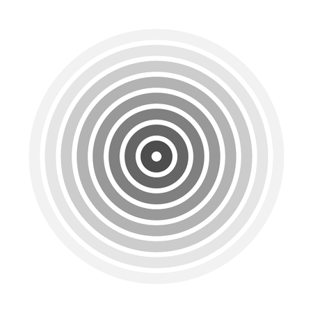 Grey concentric rings. Epicenter theme. Simple flat vector illustration.