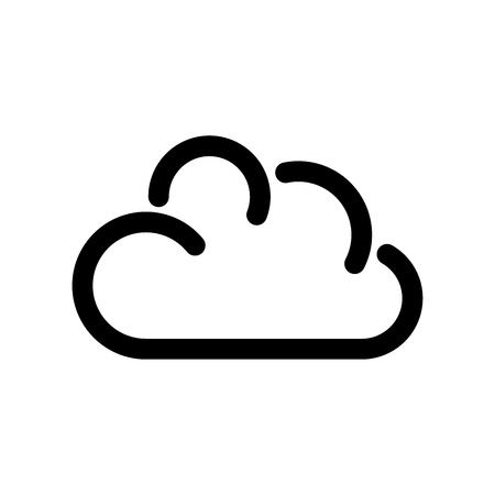 Cloud icon. Symbol of online storage. Outline modern design element. Simple black flat vector sign with rounded corners.