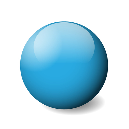 Blue glossy sphere, ball or orb. 3D vector object with dropped shadow on white background. Illustration