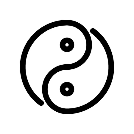 Yin yang icon. Outline modern design element. Simple black flat vector sign with rounded corners.