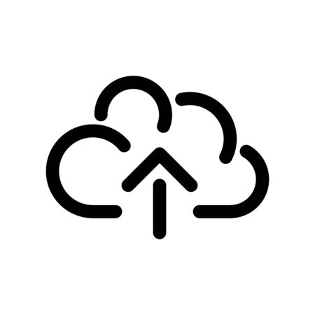Cloud icon, symbol of online storage with arrow as a upload sign. Outline modern design element. Simple black flat vector sign with rounded corners.