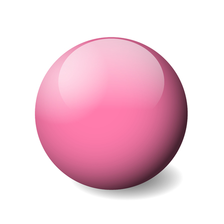 Pink glossy sphere, ball or orb. 3D vector object with dropped shadow on white background. Illustration