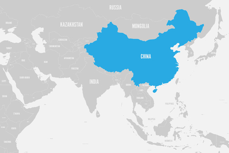 China blue marked in political map of Southern Asia. Vector illustration.